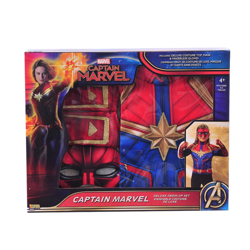 Boîte contenant un ensemble de costume de Captain Marvel du film de super héro de Marvel