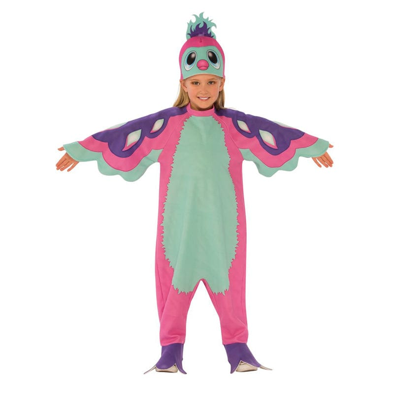 Fille portant un costume de Pengula rose de la série de jouets de collection des Hachimals