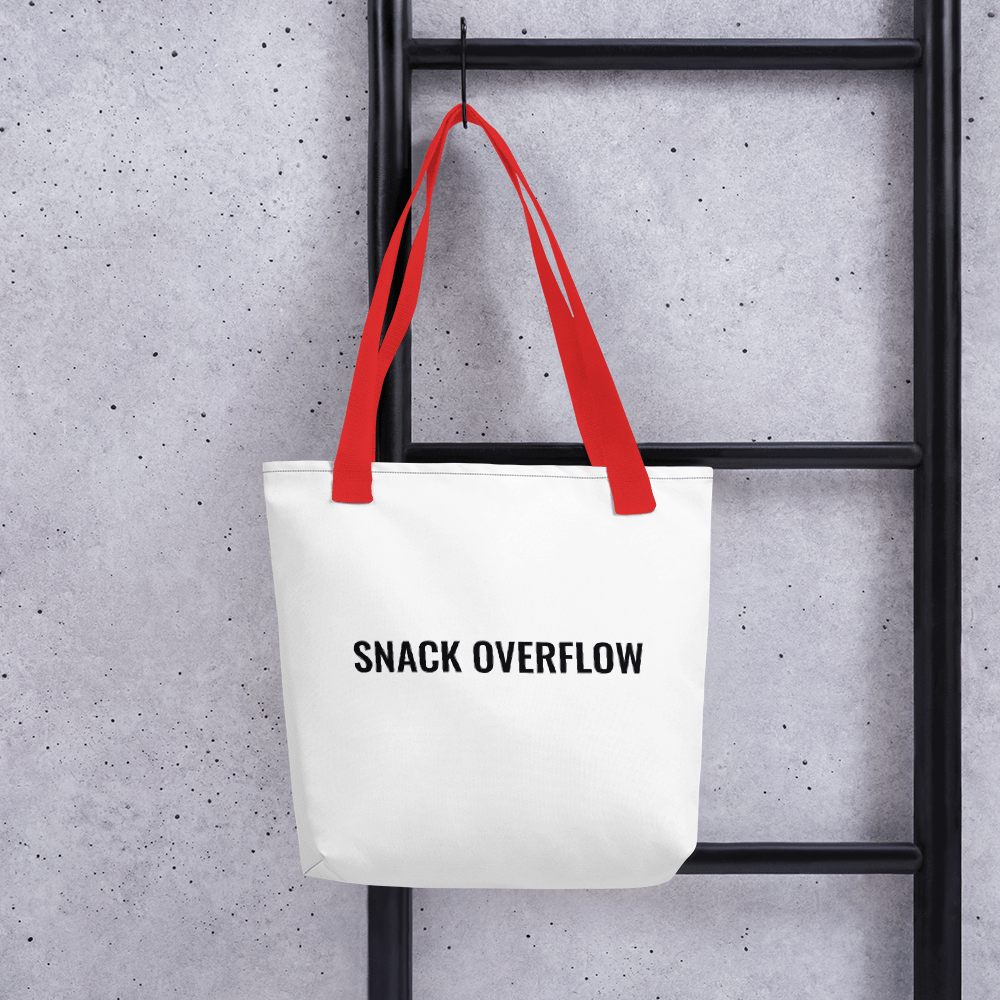 Snack Overflow Tote Bag, White