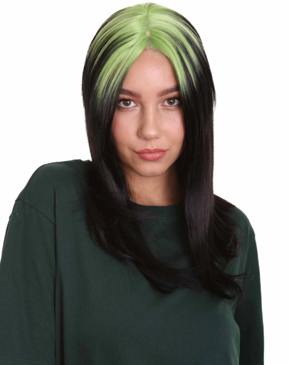 A girl wearing  Billie Eilish  Neon Green Roots wig