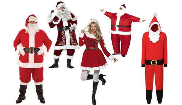 Men and women wearing santa clause christmas costume
