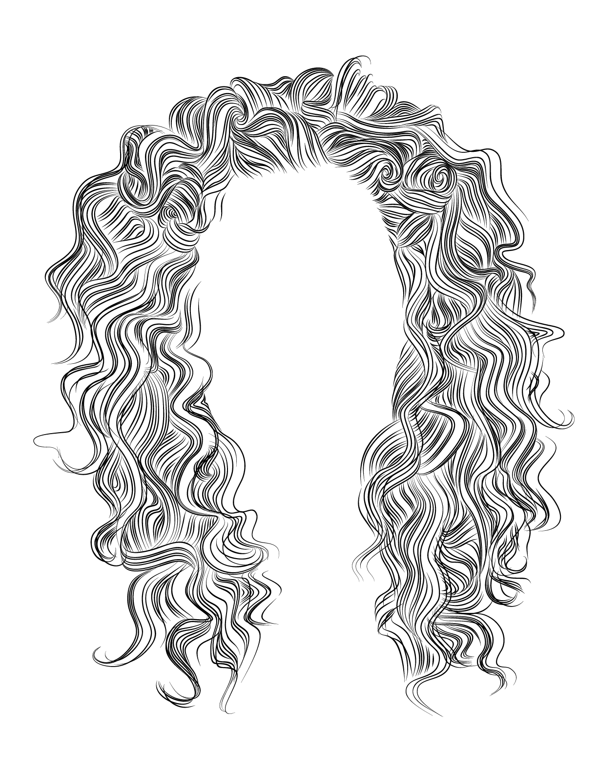 Shoulder Length Curly Hair Drawing