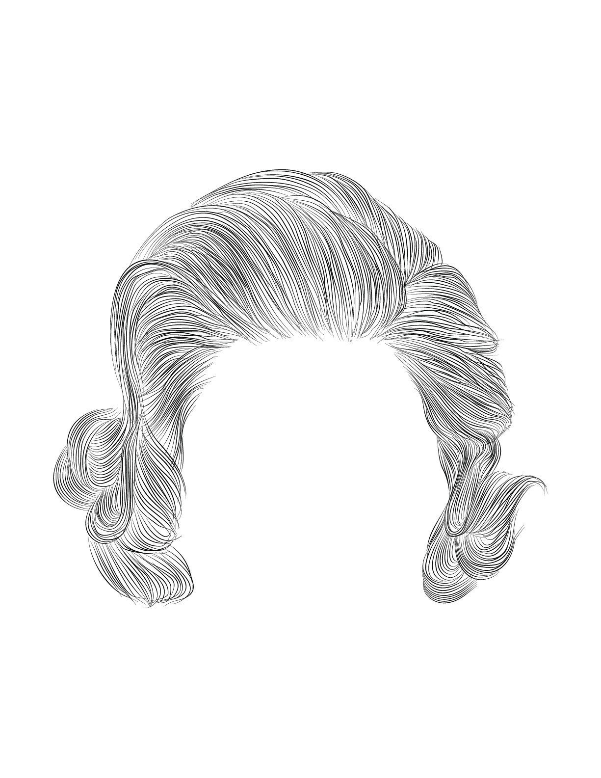 Woman Curly Hair Design Drawing