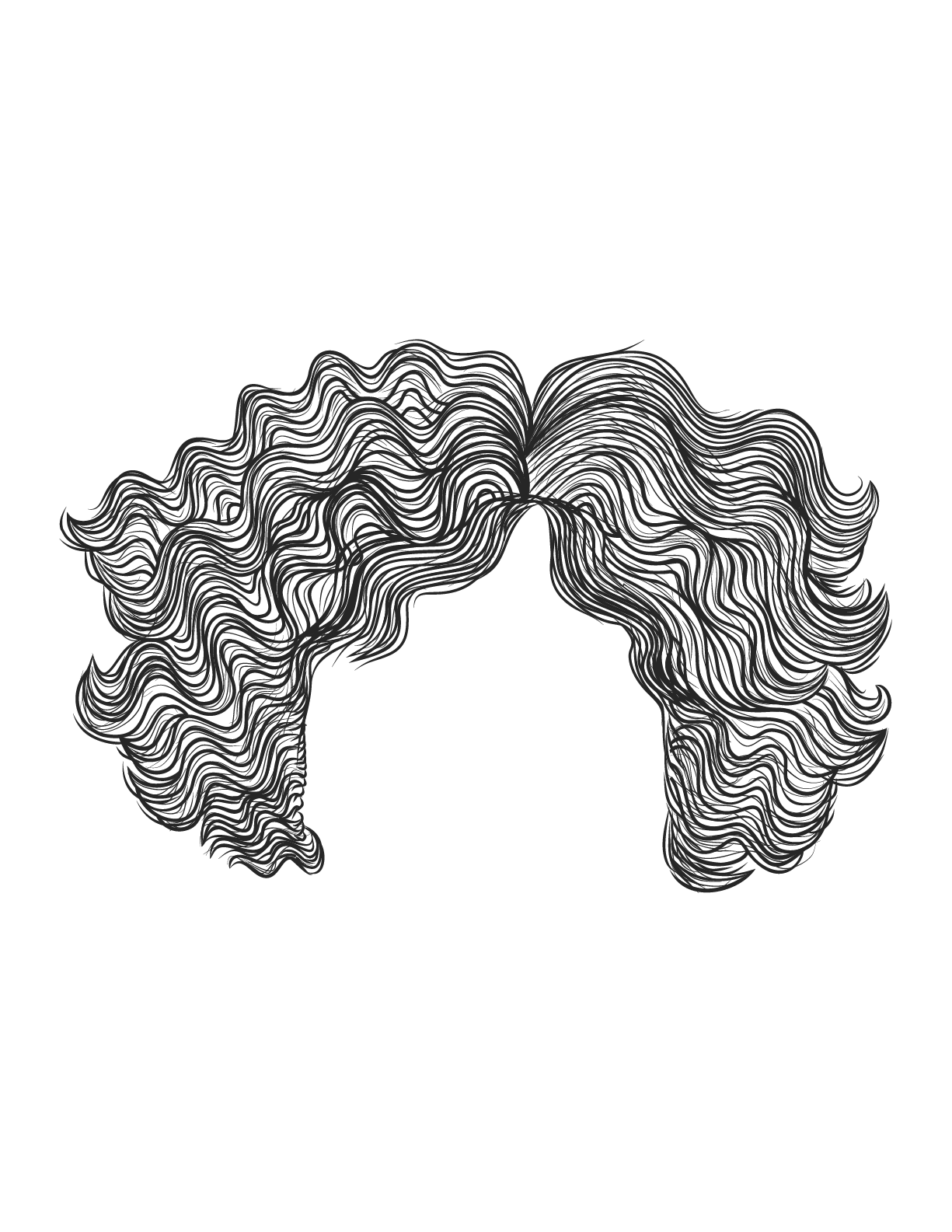 Short Curly Hair Design Drawing
