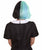 "Nunique Adult Women's 10"" In. Two Tone Contrasting Zombie Bride Artist Wig - Short Length Two Tone Mint Green and Jet Black Hair"