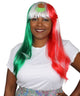 Mexico Flag Sport Party Long Bob Wig | National Pride Sport Wig | HPO