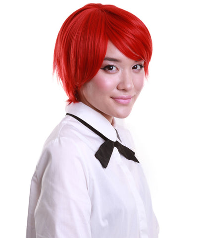 A Woman Wearing Short Red Wig