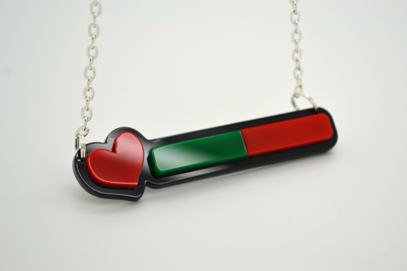 Life Bar Necklace - Laser Cut Acrylic Videogame Jewelry
