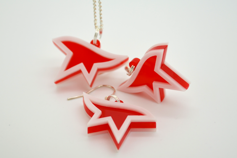 Mirror's Edge Necklace and Earrings Set - Laser Cut Acrylic Videogame Jewelry