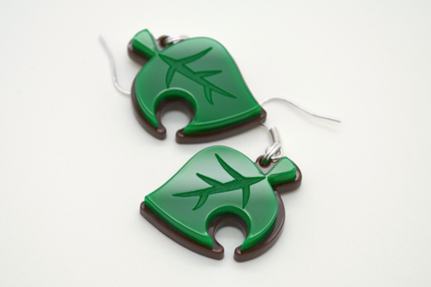 Animal Crossing New Leaf Earrings - Video Games Jewelry - Laser Cut Acrylic