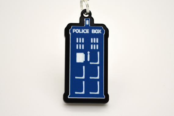 Dr. Who TARDIS Police Box Pendant Necklace - Laser Cut Acrylic