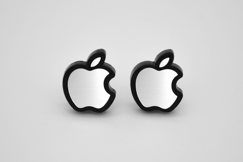 Apple Logo Stud Earrings - Laser Engraved Acrylic