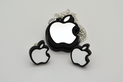 Apple Logo Necklace and Stud Earrings Set - Laser Engraved Acrylic Jewelry