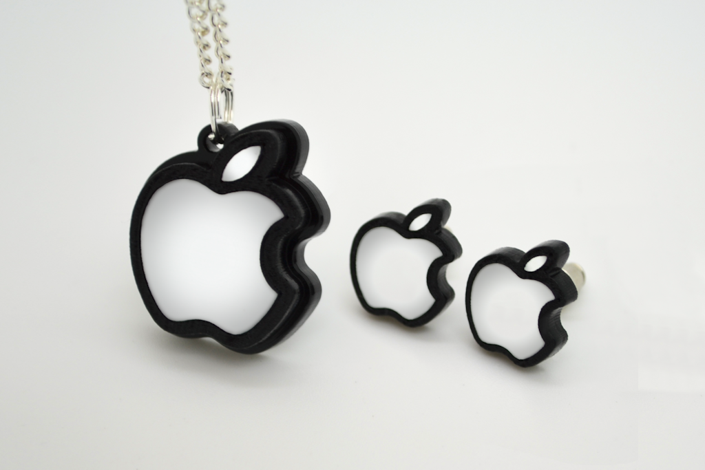 Apple Logo Necklace - Laser Engraved and Laser Cut Acrylic