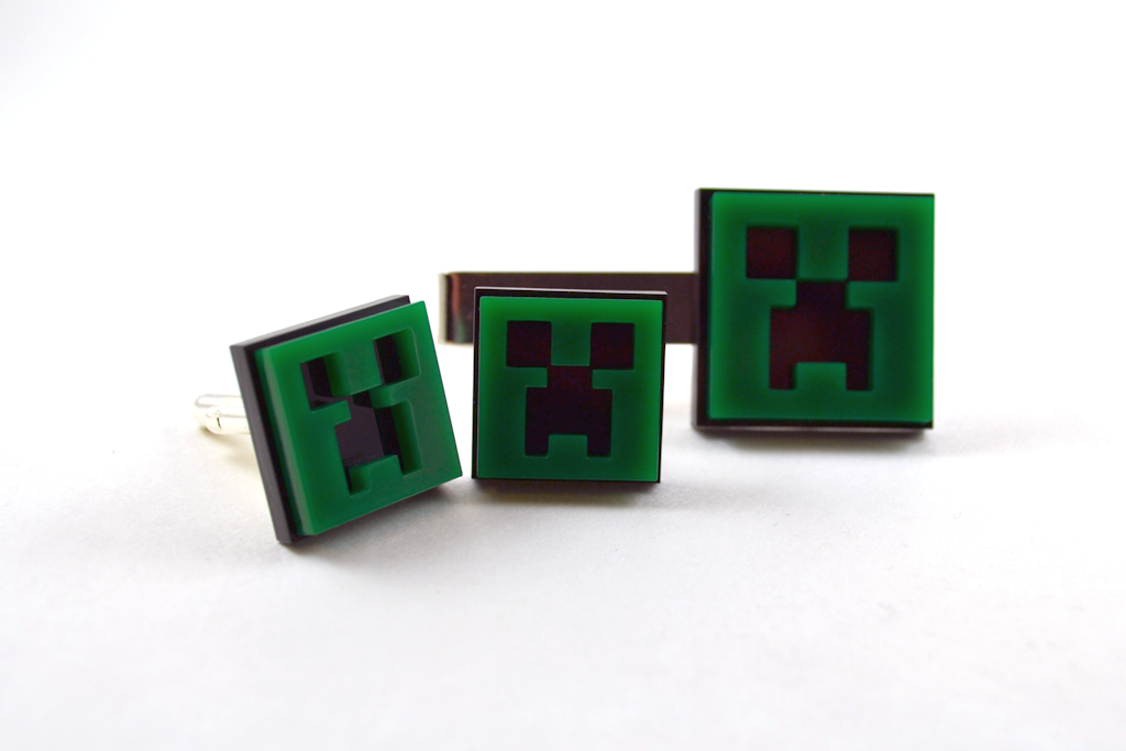Minecraft Creeper Cuff Links - Laser Cut Acrylic Gaming Men's Wear