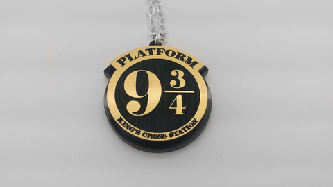 Harry Potter Platform 9 3/4 Laser Engraved Acrylic Necklace - King's Cross Station