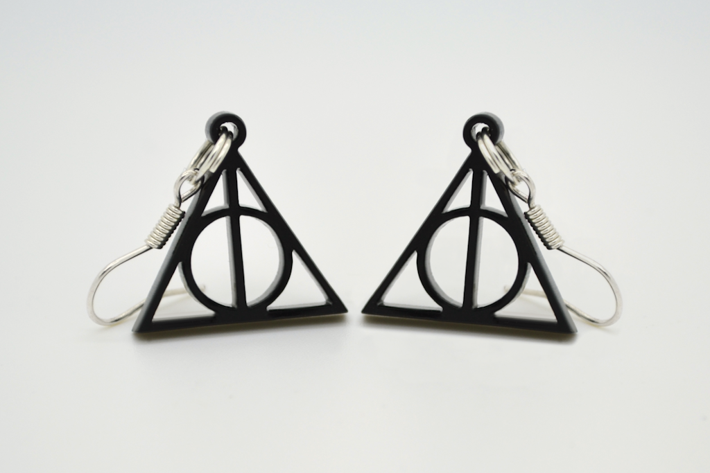 Harry Potter Deathly Hallows Laser Cut Acrylic Necklace and Earrings Set - On Sale