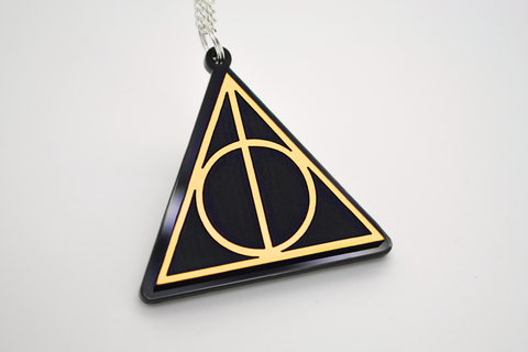 Harry Potter Deathly Hallows Laser Engraved Gold Acrylic Necklace