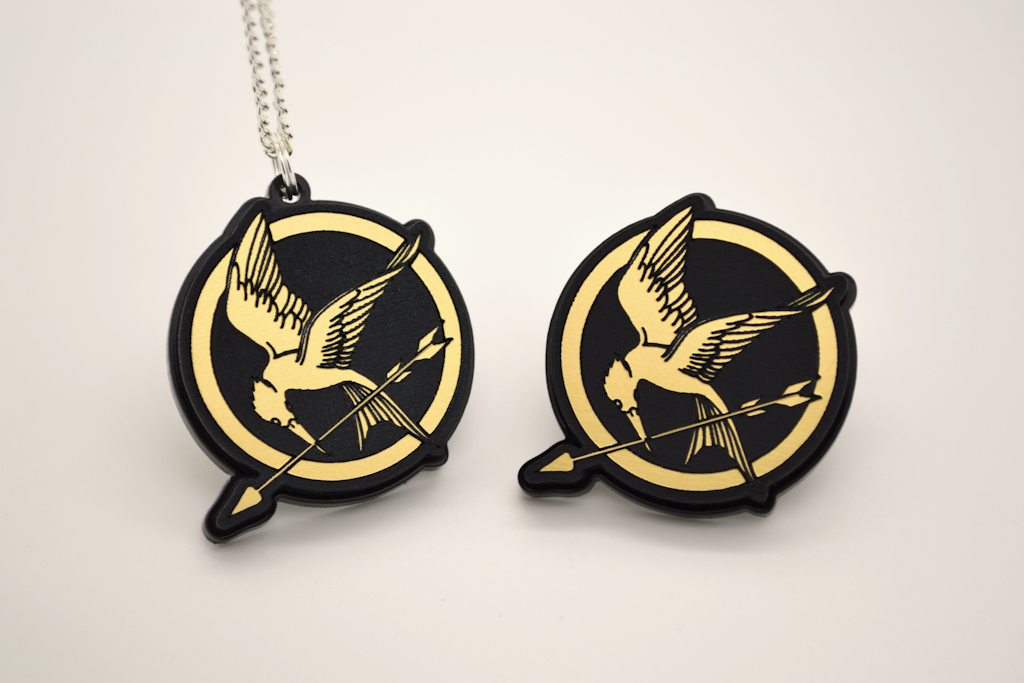 Hunger Games Mockingjay Necklace - Laser Engraved Gold Acrylic
