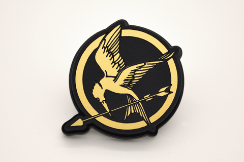 Hunger Games Mockingjay Pin Back - Laser Engraved Gold Acrylic - Bag Pin - Tie Tack - Brooch