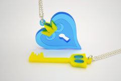 Kingdom Hearts Keyblade Necklace - Laser Cut Acrylic Video Games Jewelry