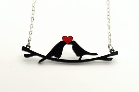 Little Love Birds Laser Cut Acrylic Charm Necklace