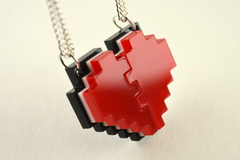 Pixel Heart Friendship Necklaces - Laser Cut Acrylic Best Friend Necklaces