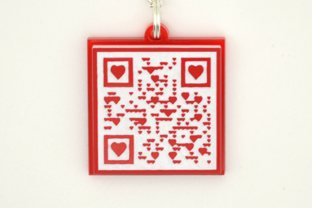 Marriage Proposal QR Code Necklace with Hearts