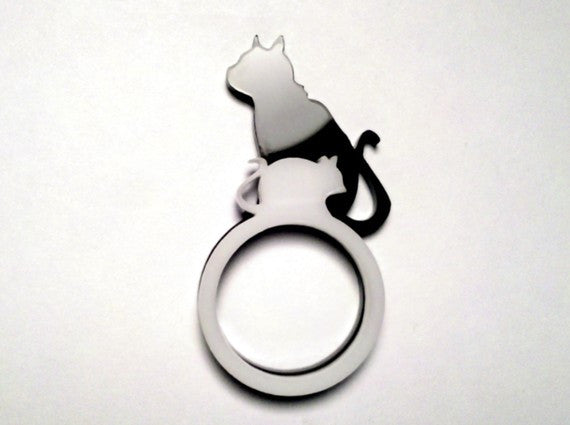 Katz und Maus - Laser Cut Acrylic RingSet - Cat and Mouse