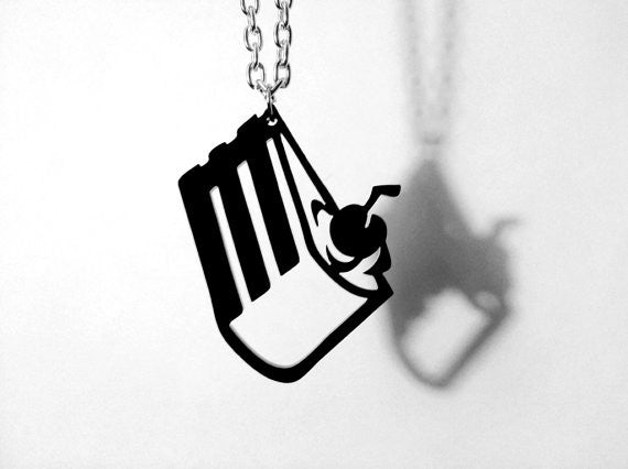The Cake Is a Lie - Portal Cake Laser Cut Acrylic Pendant Necklace - GLaDOS