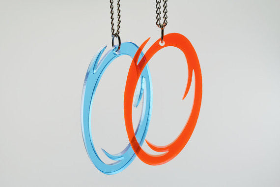 5 Dollars off Two Sets - Laser Cut Orange and Blue Portal Best Friend Necklaces and Two Pairs of Portal Earrings