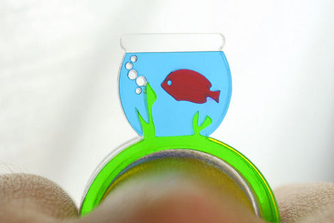 Fish Bowl Laser Cut Acrylic Ring Set