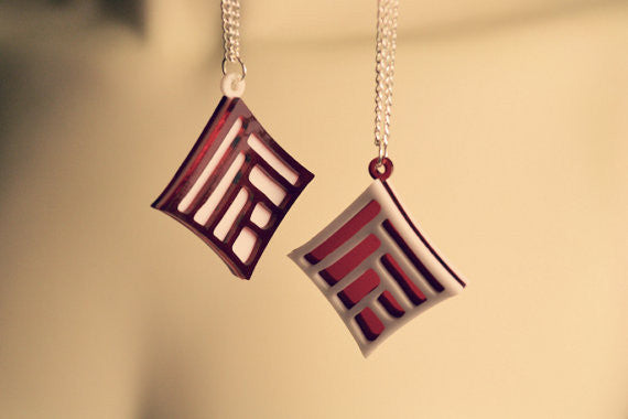 Pair of Dragon Age Friendship Necklaces - DA2 Laser Cut Acrylic Gaming Jewelry