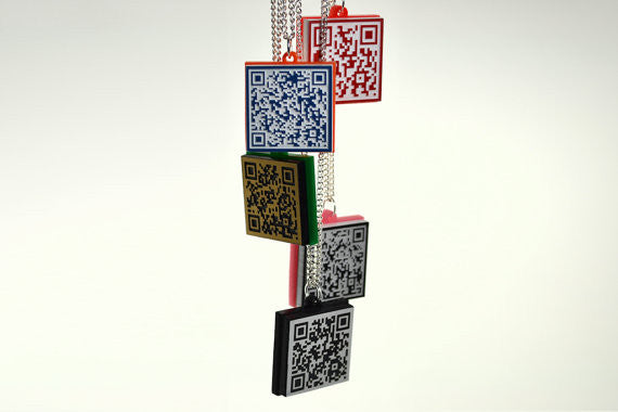 MECARD QR Code Necklace - Your Name - Cellphone - Email - URL
