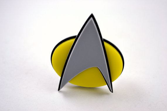 Comic Style Star Trek Com Badge - Laser Cut Acrylic TNG Era Pinback Communicator