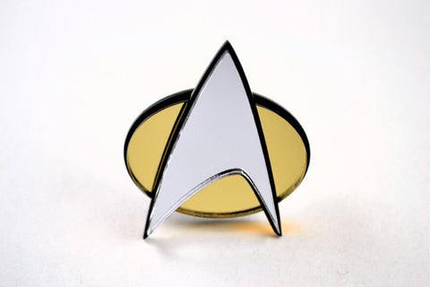 Star Trek Com Badge - Laser Cut Mirrored Acrylic TNG Era Pinback Communicator