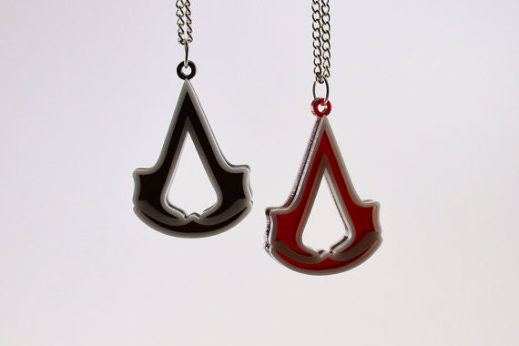 Pair of Assassin's Creed Friendship Necklaces - Laser Cut Acrylic Gaming Jewelry - SALE PRICE