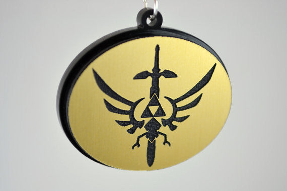 Legend of Zelda Hylian Sword Necklace - Laser Engraved Acrylic Medallion - Laser Cut