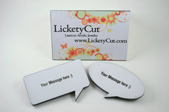 Custom Speech Bubble Pin Backed Brooch - Your Words or Phrase Laser Engraved Acrylic