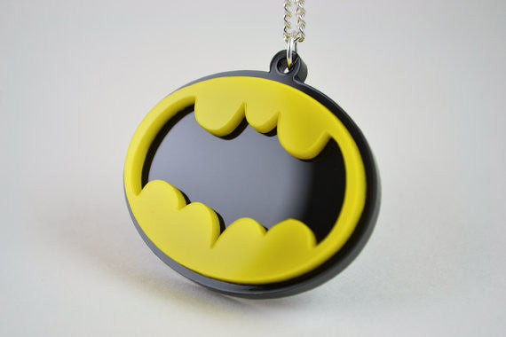 Retro Batman Necklace Laser Cut Acrylic Licketycut