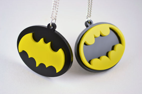 Pair of Retro Batman Symbol Pendant Friendship Necklaces - 4 Dollar Discount