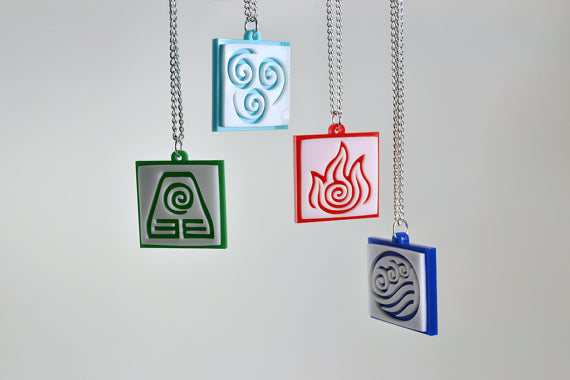 Avatar Element Bending Friendship Pendant Necklace Set - Laser Cut Acrylic