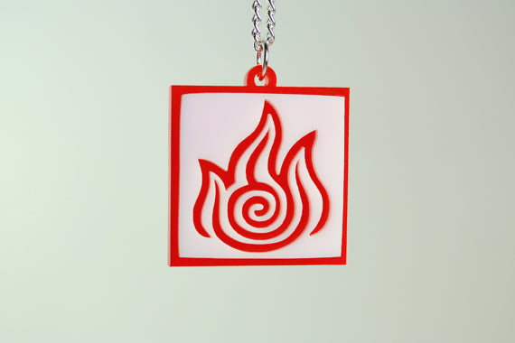 Avatar Fire Bender Pendant Necklace - Laser Cut Acrylic
