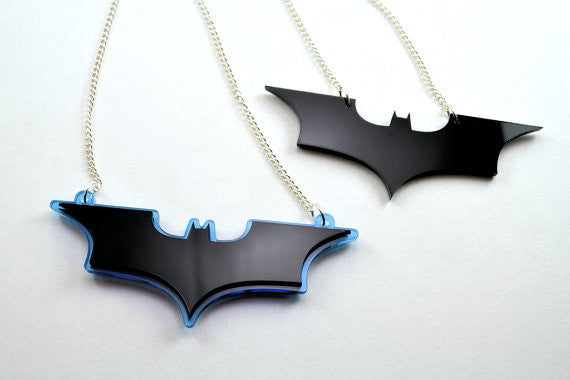 Batman Necklace - The Dark Knight Rises Pendant - Sale Price - Laser Cut Acrylic
