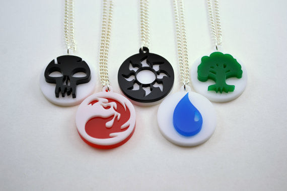 Set of 5 Magic The Gathering Mana Symbol Friendship Necklaces - Laser Cut Acrylic