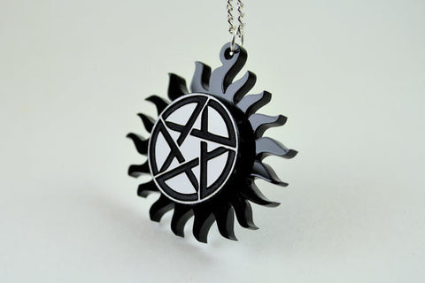 Supernatural Necklace - TV Pentagram Charm - Laser Engraved Acrylic Medallion - Laser Cut