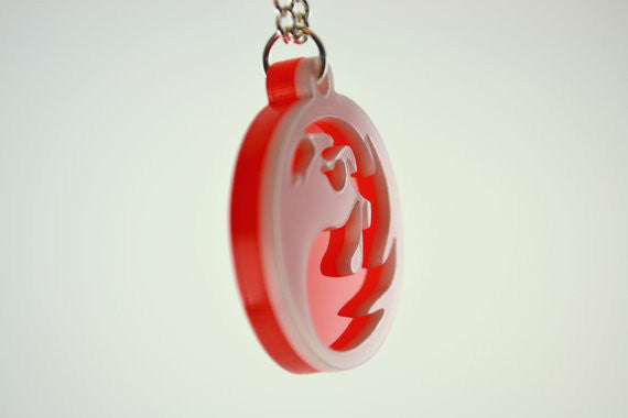 Magic The Gathering Red Mana Symbol Pendant Necklace - Laser Cut Acrylic