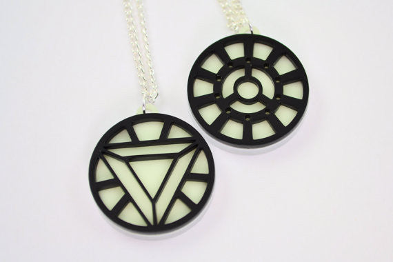 Iron Man Arc Reactor Friendship Necklaces - Glow in the Dark Laser Cut Acrylic - SALE PRICE