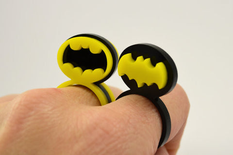 Pair of Batman Friendship Rings - Laser Cut Acrylic - Bat Signal