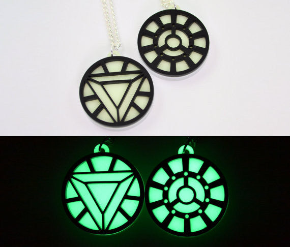 Iron Man Arc Reactor Necklace - Mark 1- Glow in the Dark Laser Cut Acrylic